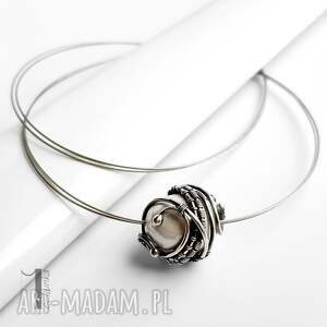 naszyjnik naszyjniki białe bianco ix srebrny z perłą