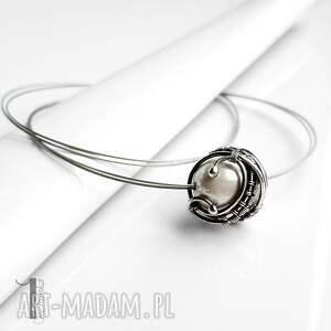 szare naszyjniki srebrny bianco ix naszyjnik z perłą