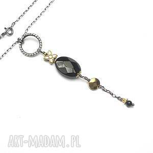 srebrne naszyjniki oksydowane black flower -naszyjnik
