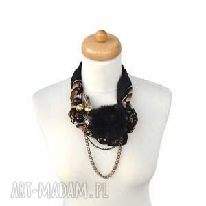 czarne naszyjniki naszyjnik black & gold handmade