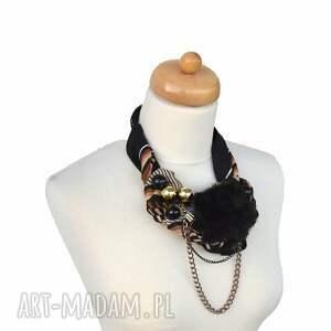 wisior naszyjniki black & gold naszyjnik handmade