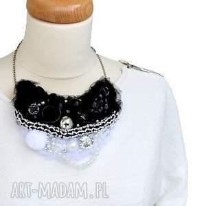 czarny naszyjniki black & white naszyjnik handmade
