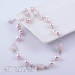 różowe naszyjniki swarovski bladoróżowy naszyjnik z pereł