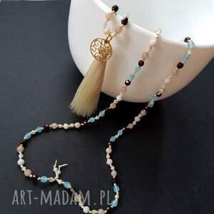 długi naszyjniki turkusowe błękit i wanilia