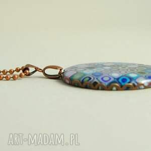 mozaika naszyjniki turkusowe błękitno fioletowy
