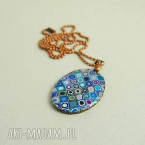 ciekawe naszyjniki mozaika błękitno fioletowy
