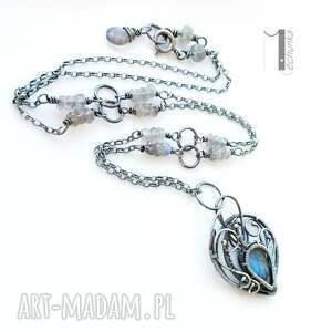 miechunka szare naszyjniki labradoryt blue bird - srebrny naszyjnik