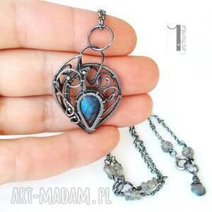 Blue Bird - srebrny naszyjnik z labradorytami wire
