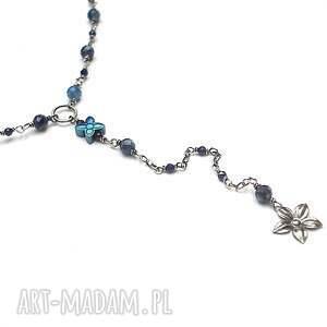 ręcznie zrobione naszyjniki srebro blue flower - naszyjnik