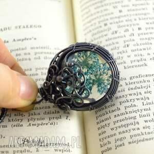 naszyjnik naszyjniki turkusowe blue flowers -