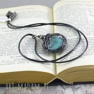 ręcznie wykonane naszyjniki prezent blue flowers - naszyjnik