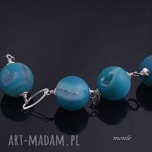 srebro naszyjniki turkusowe blue, naszyjnik z agatów
