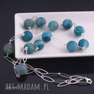 niebieskie naszyjniki agat blue, naszyjnik z agatów