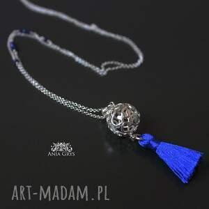 srebrne naszyjniki boho blue naszyjnik