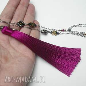 srebro naszyjniki różowe boho /cyklamen/ - naszyjnik