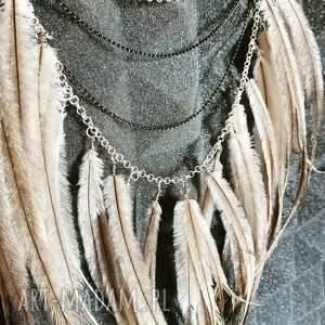 wyjątkowe naszyjniki boho hippie naszyjnik z piórami