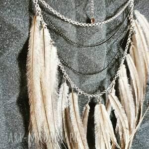 czarne naszyjniki hippie boho naszyjnik z piórami