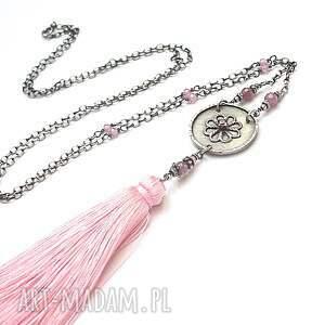 Boho maxi /pink/ - naszyjnik - rubin srebro oksydowane