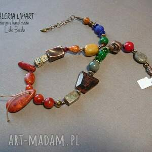naszyjniki: BOHO naszyjnik z minerałów bajecznie kolorowy, niezwykle efektowny, oryginalny