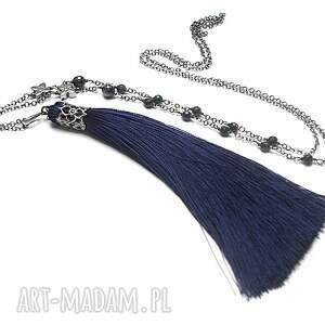 niebieskie naszyjniki srebro boho /navy/ - naszyjnik