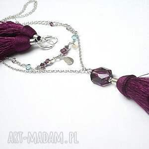 srebro naszyjniki fioletowe boho - purple naszyjnik