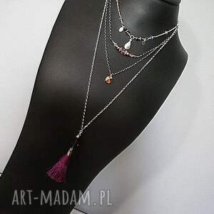 naszyjniki swarovski boho - purple naszyjnik