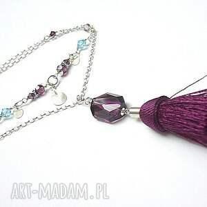 niebieskie naszyjniki boho - purple naszyjnik