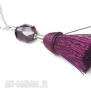 oryginalne naszyjniki srebro boho - purple naszyjnik