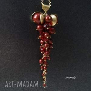 naszyjniki bordo wisior z pereł swarovski