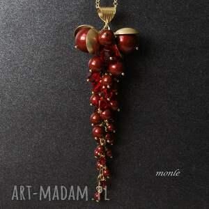 czerwone naszyjniki bordo wisior z pereł swarovski