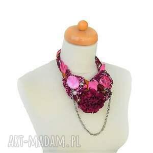 koraliki burgund naszyjnik handmade