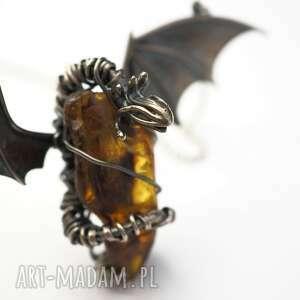 naszyjniki fantasy bursztynowy smok