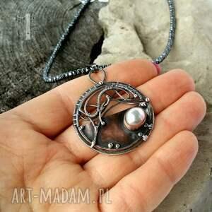 wyraziste naszyjniki oksydowany chandrama - srebrny naszyjnik