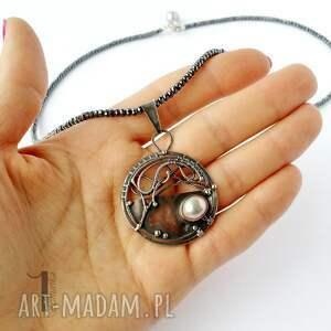 naszyjniki oksydowany chandrama - srebrny naszyjnik