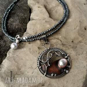 srebro naszyjniki brązowe chandrama - srebrny naszyjnik
