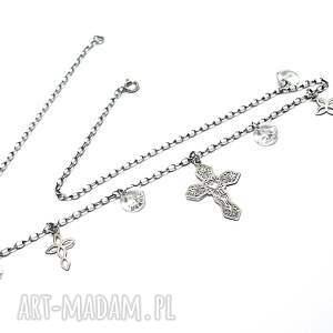 handmade naszyjniki srebro choker /crystal cross/ vol. 2
