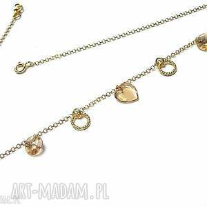 handmade naszyjniki srebro pozłacane choker /golden heart/ 31 -01 -19/