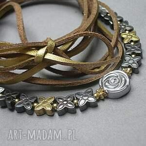 złote naszyjniki pozłacane choker 2 w 1 /silver-gold/