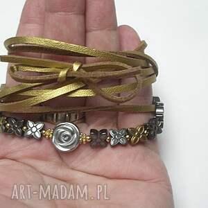 naszyjniki rzemień choker 2 w 1 /silver-gold/
