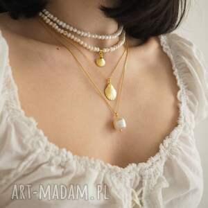 unikatowe naszyjniki naszyjnik choker z pereł naturalnych ze złotą