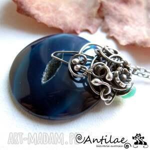 niebieskie naszyjniki agat circle - agat, chalcedon, srebro