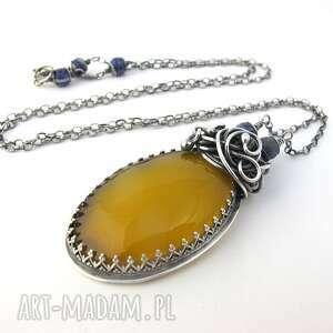 eleganckie naszyjniki onyks citroonno - onyks, lapis lazuli