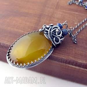 srebrne naszyjniki lapis citroonno - onyks, lazuli