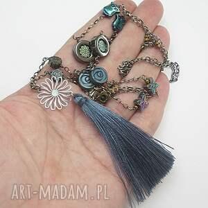 srebro naszyjniki niebieskie colours mix boho vol. 4 /hematite&#47