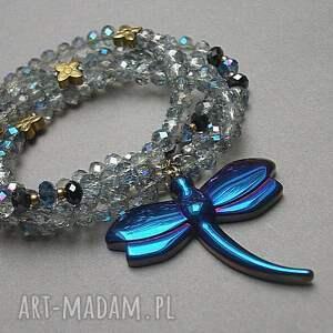 stal naszyjniki turkusowe crystal dragonfly /cobalt/ /alloys