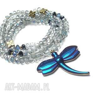 trendy naszyjniki stal crystal dragonfly /cobalt/ /alloys