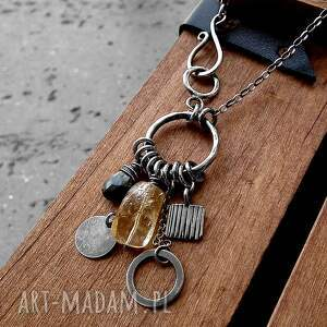 naszyjniki zkółkiem cytryn, kwarc, srebro- okazały