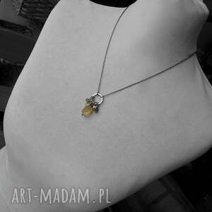 z-kamieniami naszyjniki żółte cytryn, vessonit, agat - srebrny