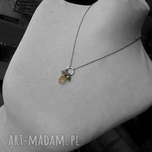 z-kamieniami naszyjniki żółte cytryn, vessonit, agat- srebrny