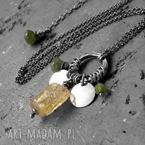 oryginalne naszyjniki z-kamieniami cytryn, vessonit, agat- srebrny